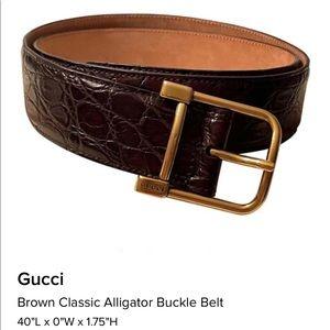 Gucci Brown  Leather Alligator Belt